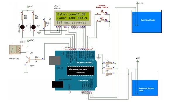 Six Level Wireless Water Level Indicator Circuit Diagram