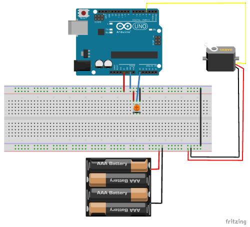 small resolution of in this project we will use the potentiometer to control the position of the servo motor notice that the potentiometer uses the 5v power source from the