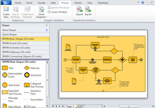 """Using the search bar at the top of the excel workbook, search for """"workflow templates."""" New Process Flow Templates Microsoft Visio 2010 Business Process Diagramming And Validation"""