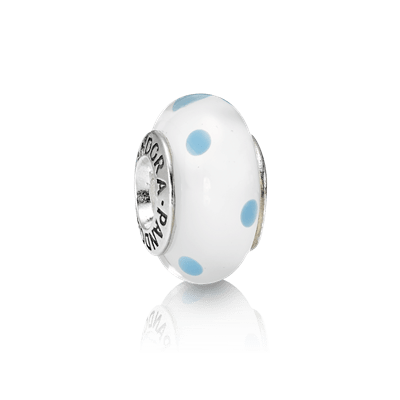 Charm White Teal Polka Dots