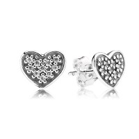 Pav Heart Stud EarRings