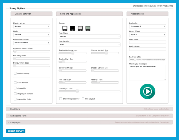 Plugin provides Visual Builder to Design your own WordPress Questionnaire