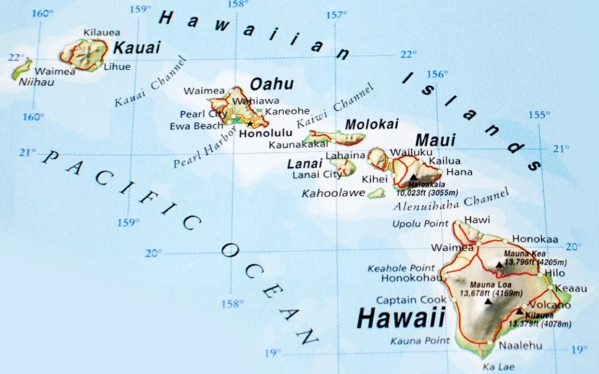 Are the Hawaiian Islands in North America