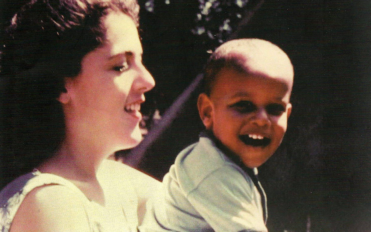 Barack Obama, about age two, with his mother.