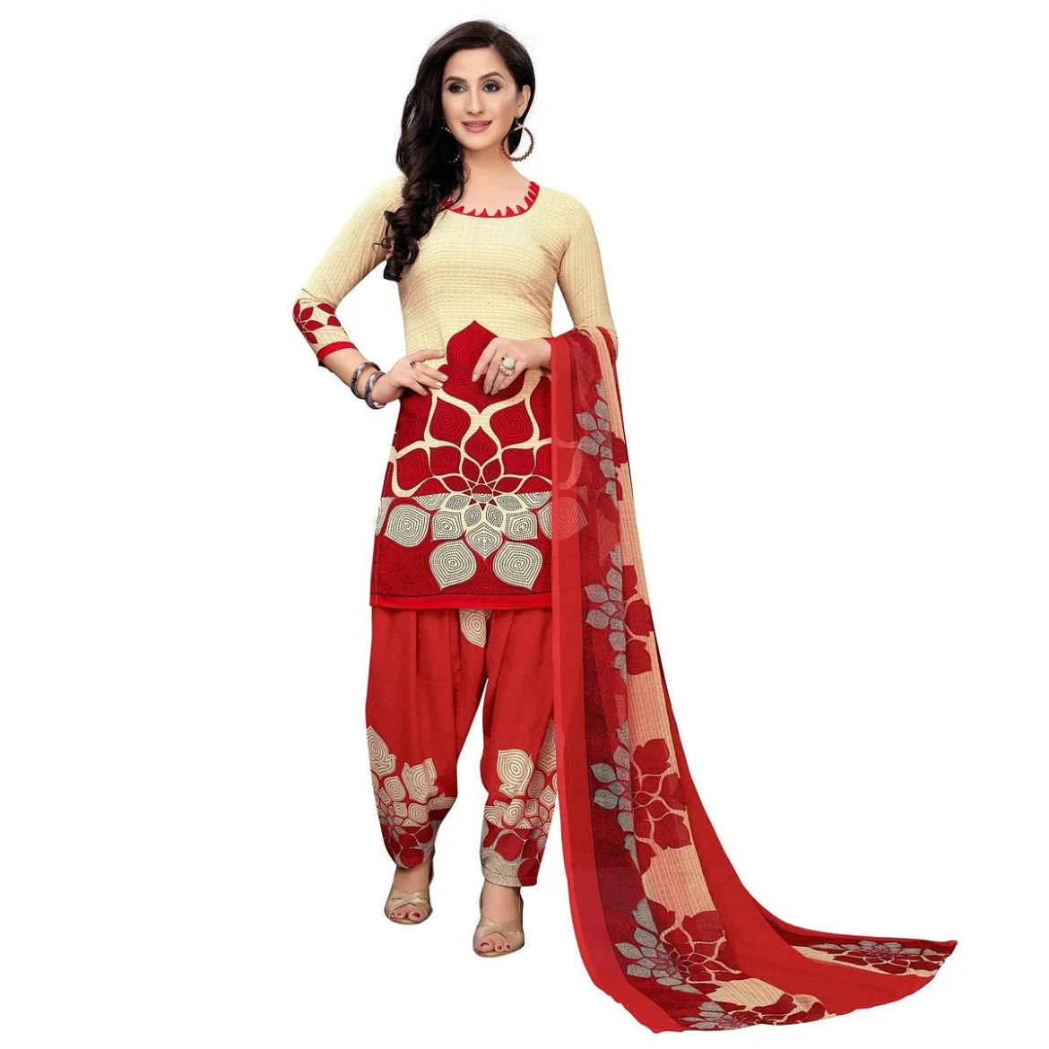 Adorable Beige-Red Colored Casual Printed Crepe Dress Material