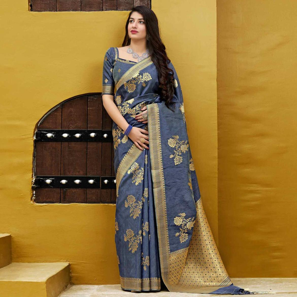 Ethnic Grey Colored Festive Wear Woven Banarasi Patola Silk Saree