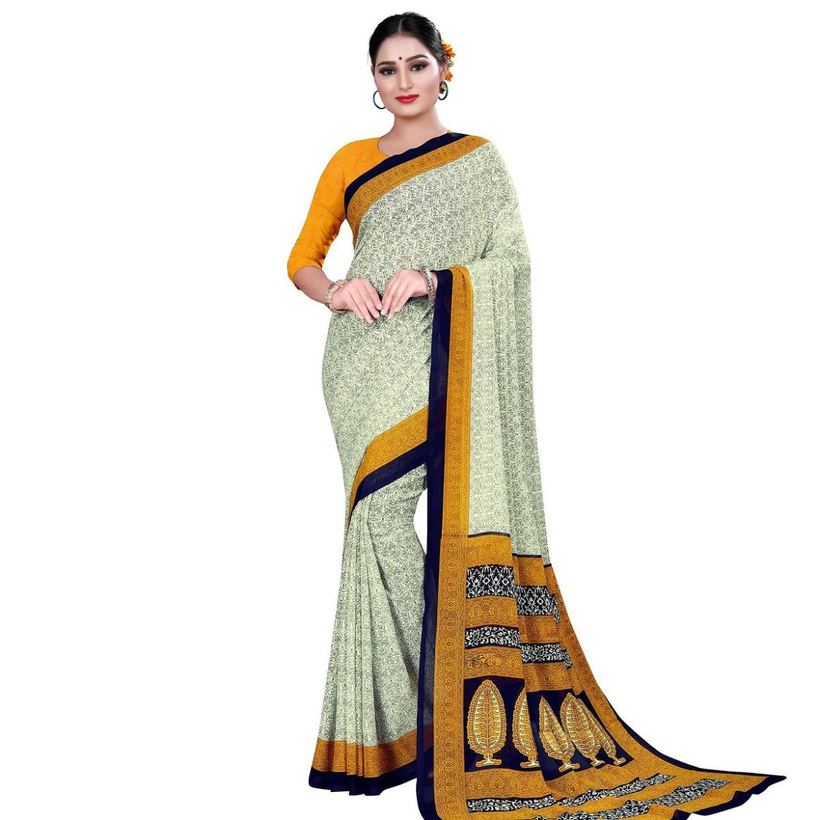 Elegant Pastel Green-Yellow Colored Casual Wear Printed Georgette Saree