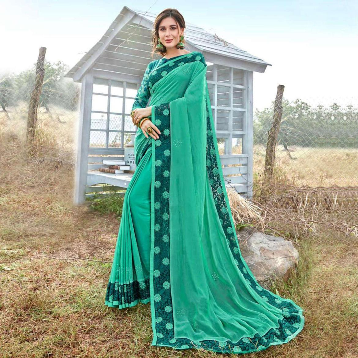 Exclusive Aqua Green Colored Party Wear Embroidered Art Silk Saree