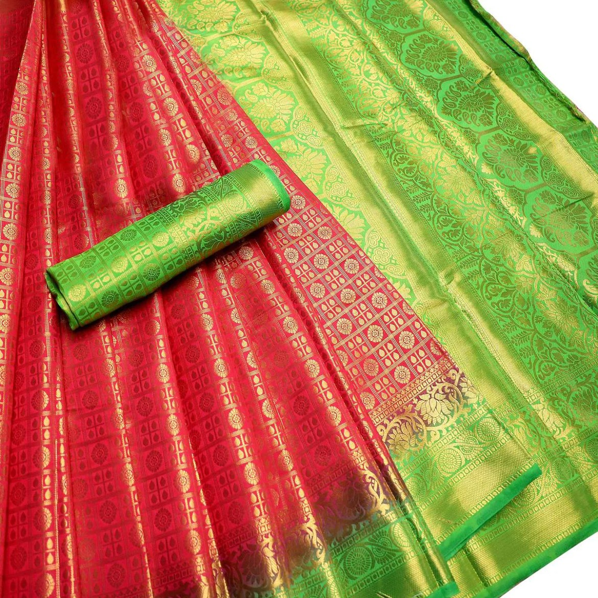 Energetic Pink-Green Colored Festive Wear Woven Nylon Saree