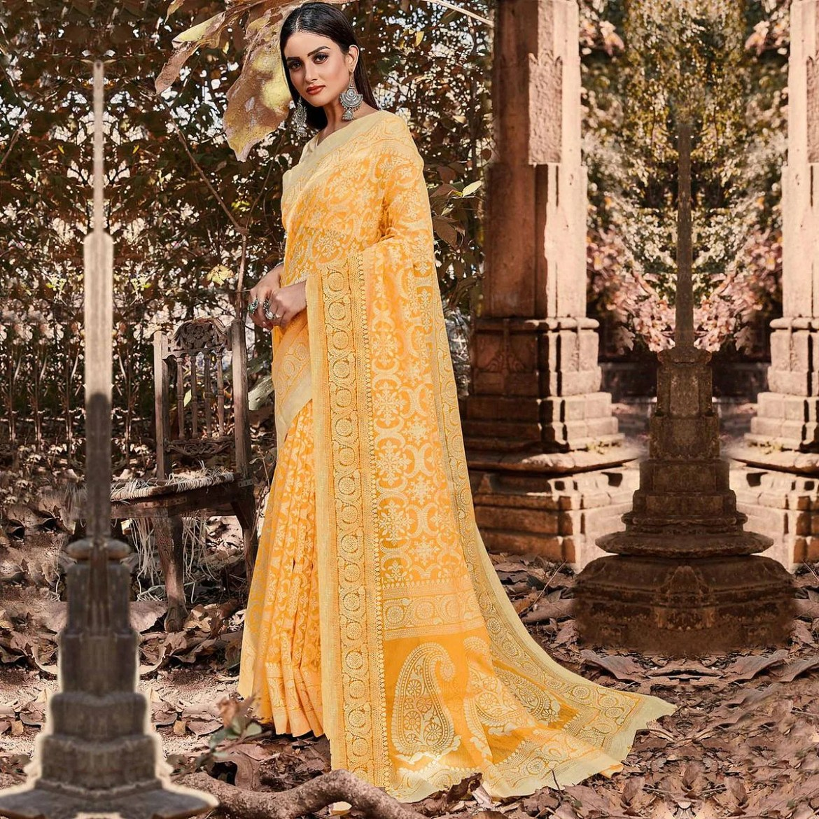 Energetic Yellow Colored Casual Wear Floral Printed Brasso Saree