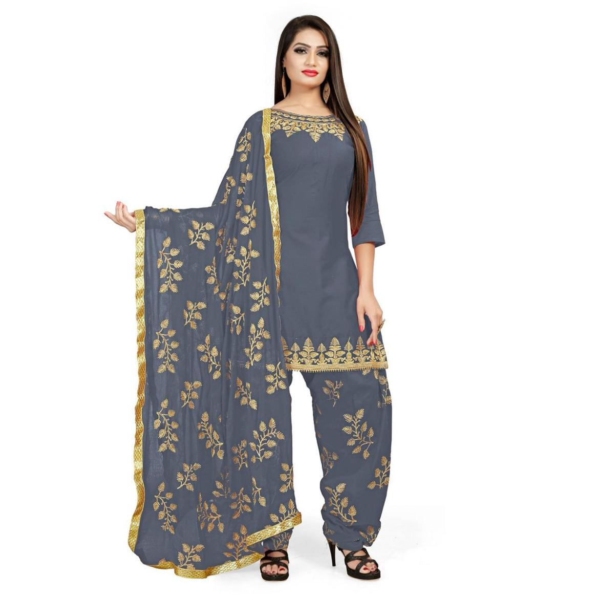 IRIS - Grey Colored Party Wear Embroidered Cotton Patiyala Style Dress Material
