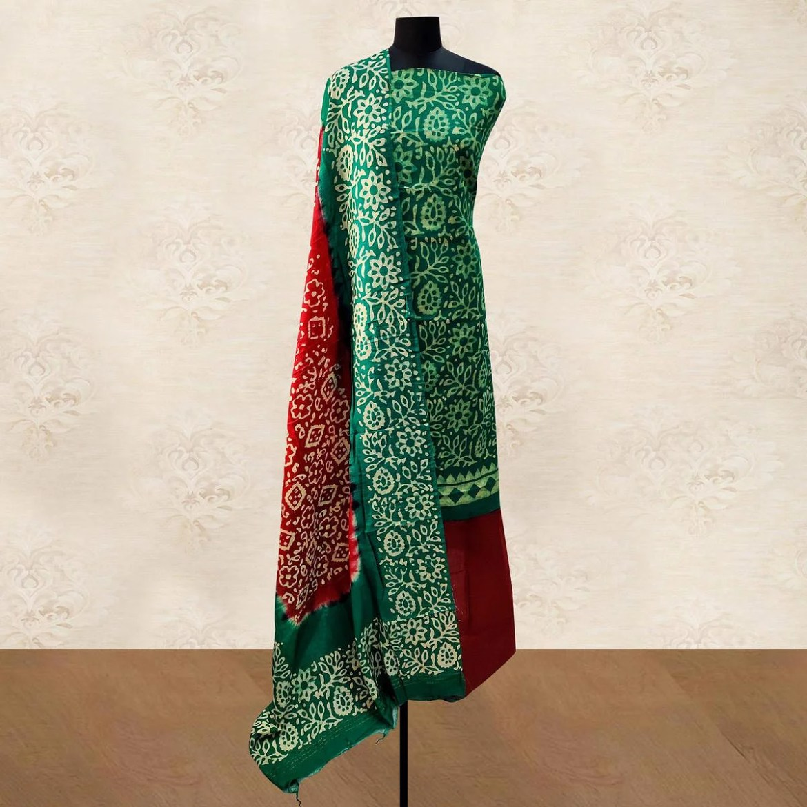 IRIS - Green Colored Casual Hand Wax Batik Printed Cotton Dress Material