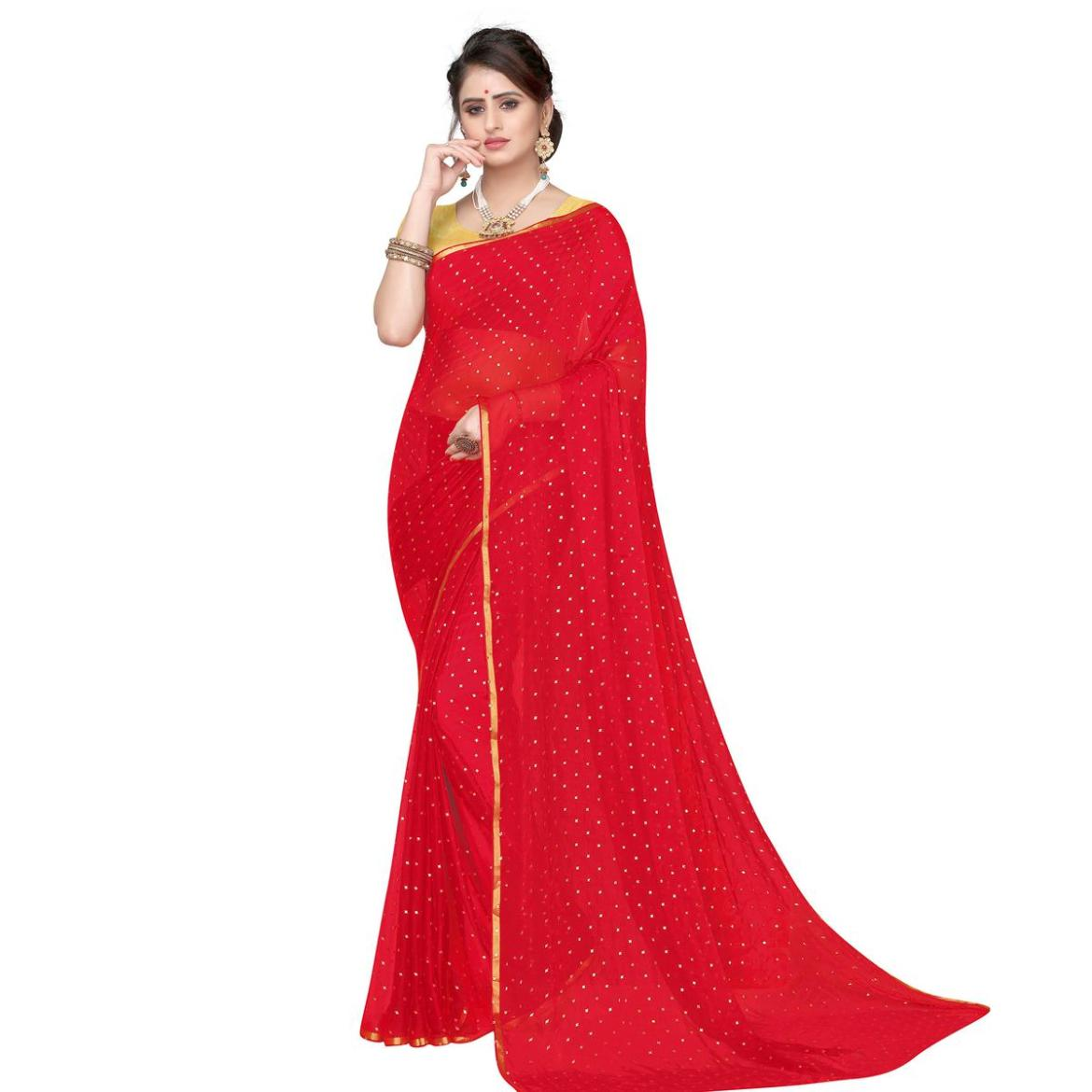 Desirable Red Colored Party Wear Chiffon Saree