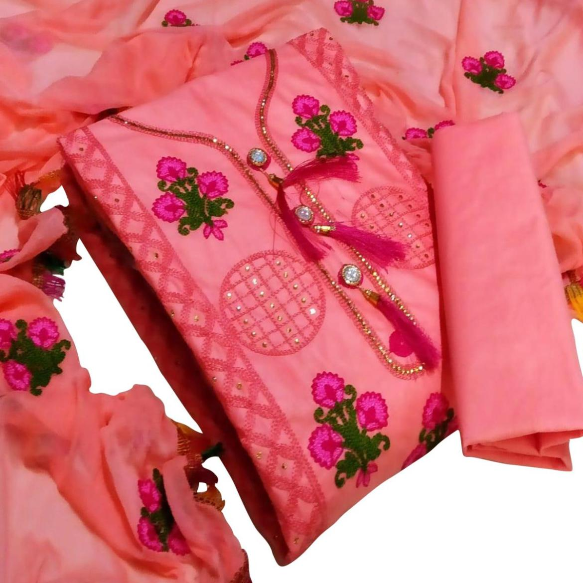 IRIS - Pink Colored Party Wear Floral Embrodiered Work Cotton Dress Material