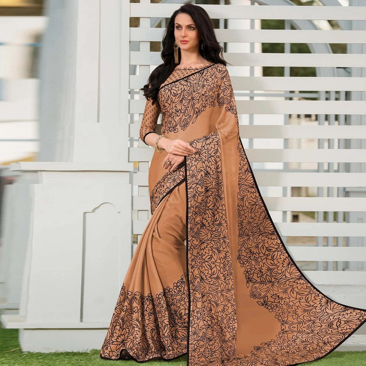 Exclusive Beige Colored Partywear Floral Printed Chiffon Saree