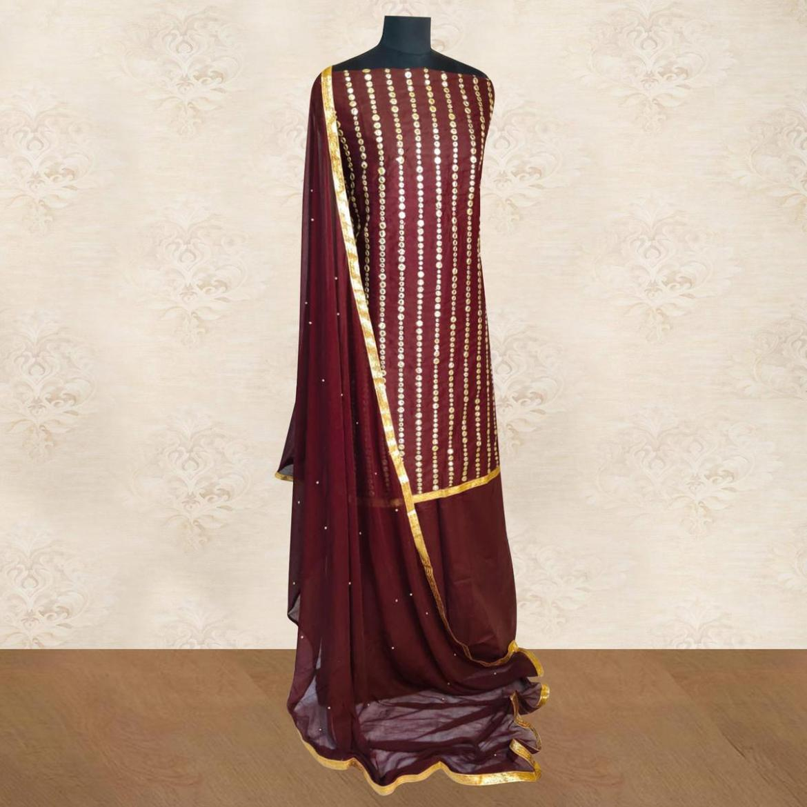 IRIS - Brown Colored Partywear Gotapatti Embroidered Work Cotton Dress Material