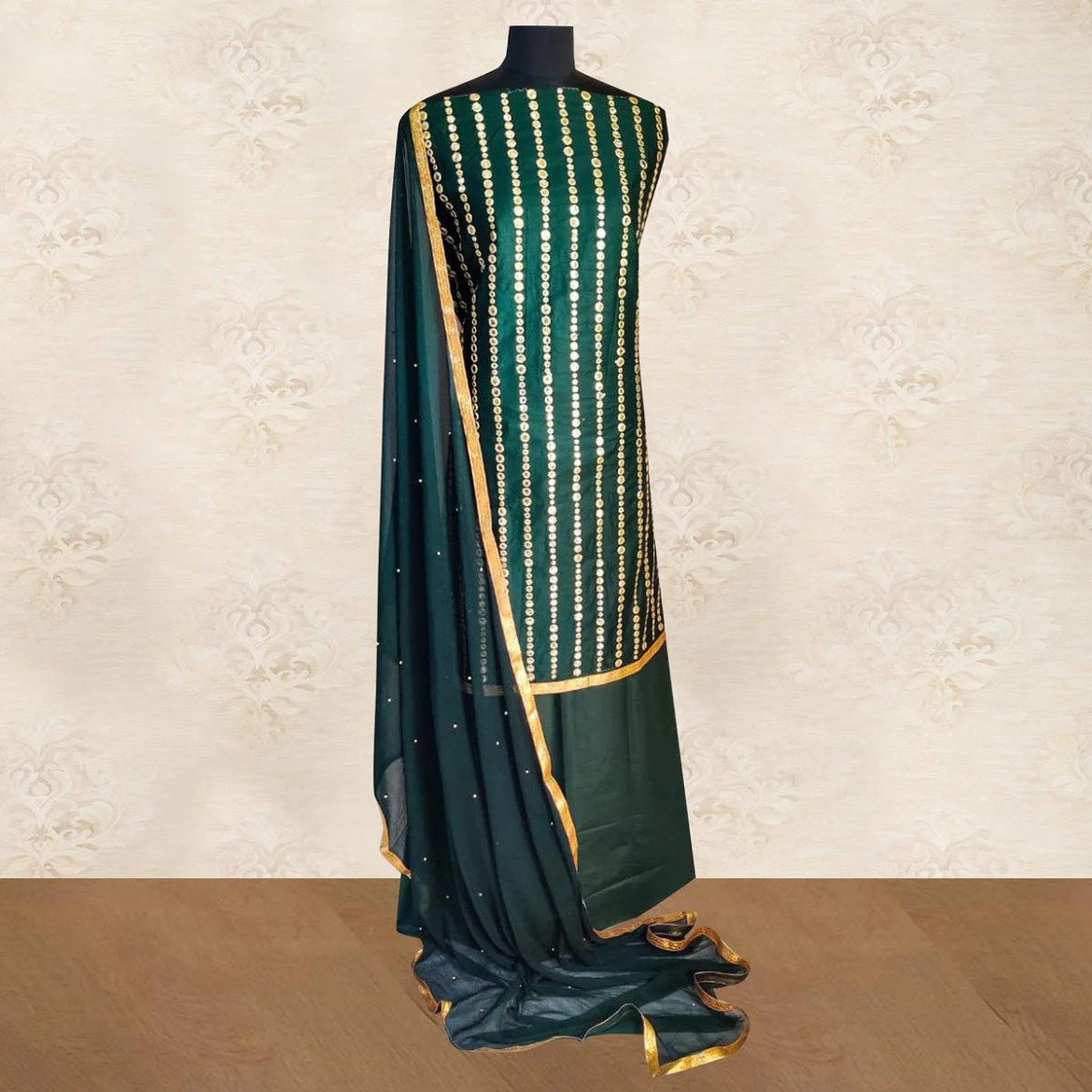 IRIS - Green Colored Partywear Gotapatti Embroidered Work Cotton Dress Material