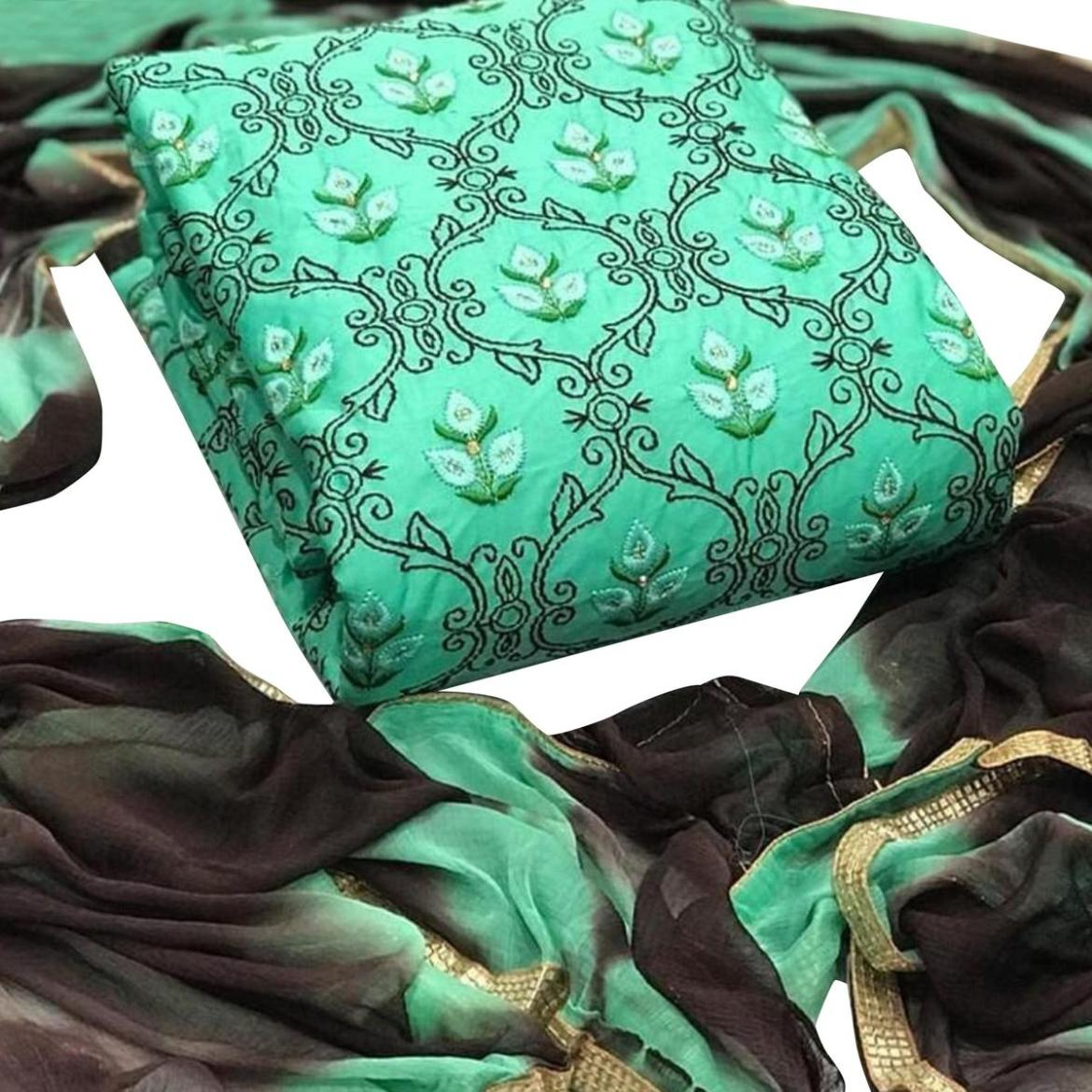 IRIS - Rama Green Colored Casual Embroidered Cotton Dress Material