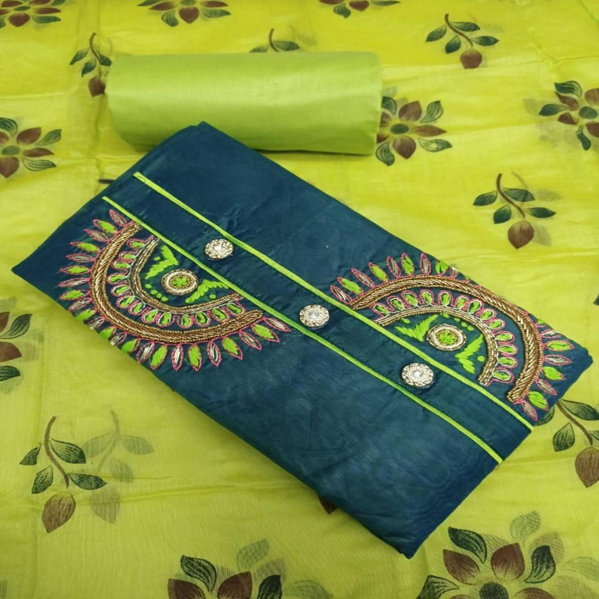 IRIS - Rama Green Colored Party Wear Embroidered Modal Chanderi Silk Dress Material