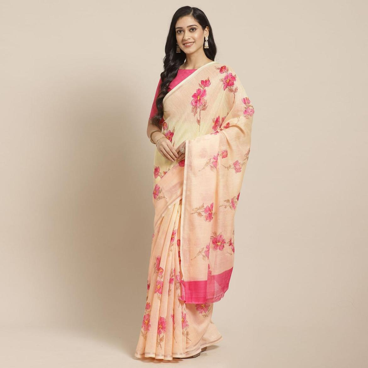 Elegant Peach - Yellow Colored Casual Wear Printed Cotton Blend Saree