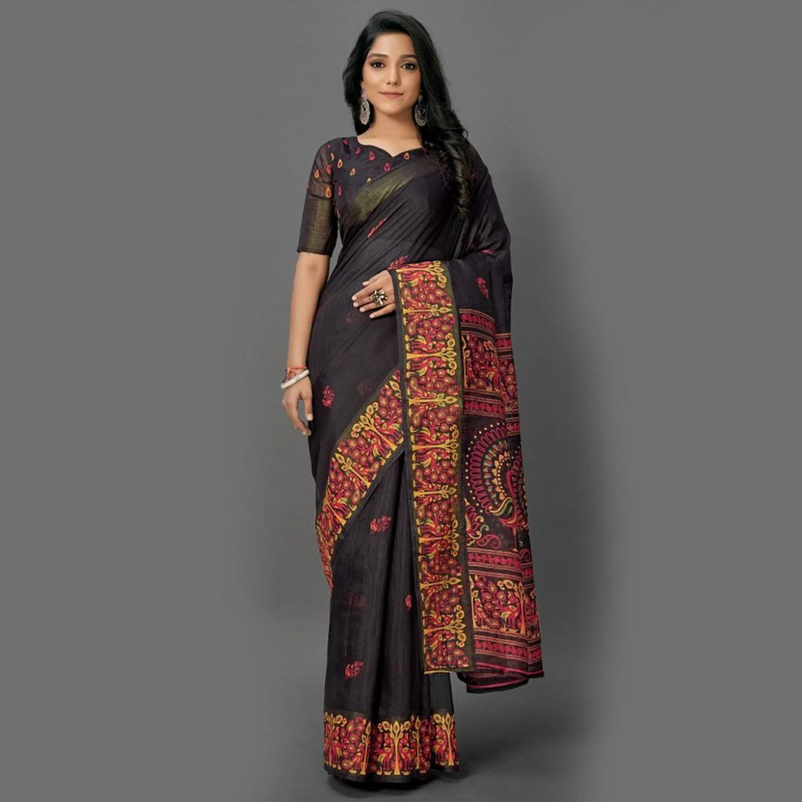 Excellent Black Colored Casual Wear Printed Cotton Saree
