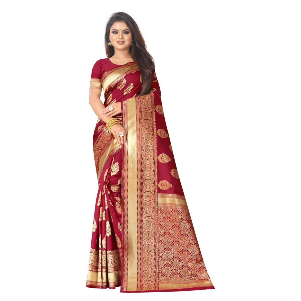 Excellent Red Colored Festive Wear Woven Lichi Silk Saree