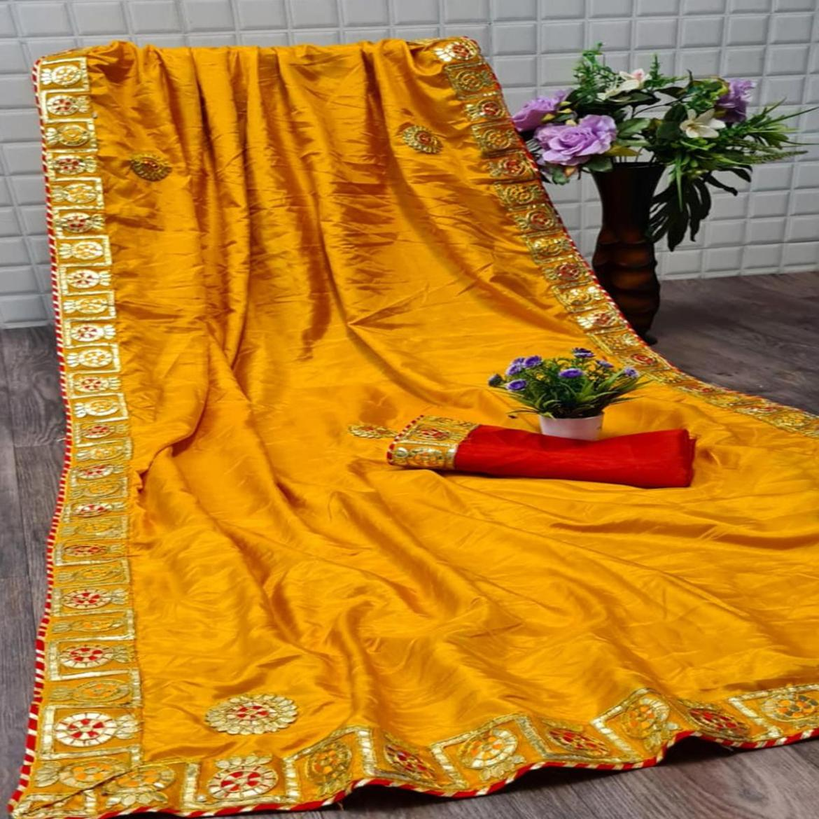 Exceptional Yellow Colored Festive Wear Woven Moss Georgette Saree