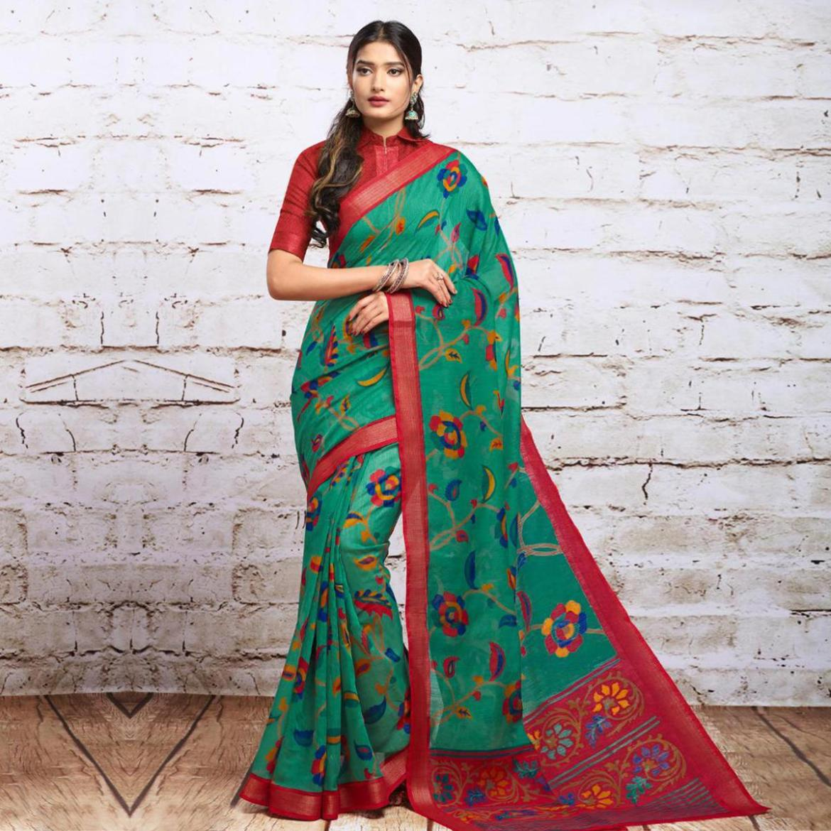 Exceptional Green Colored Partywear Floral Printed Cotton Silk Saree