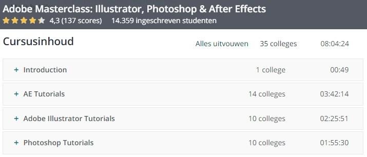 Adobe Photoshop, Illustrator en After Effects cursus