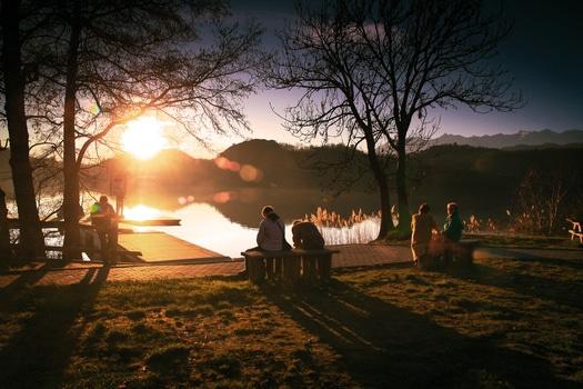 Free stock photo of sea, dawn, sunset, people