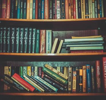 Hard Bound Books on Brown Wooden Shelf