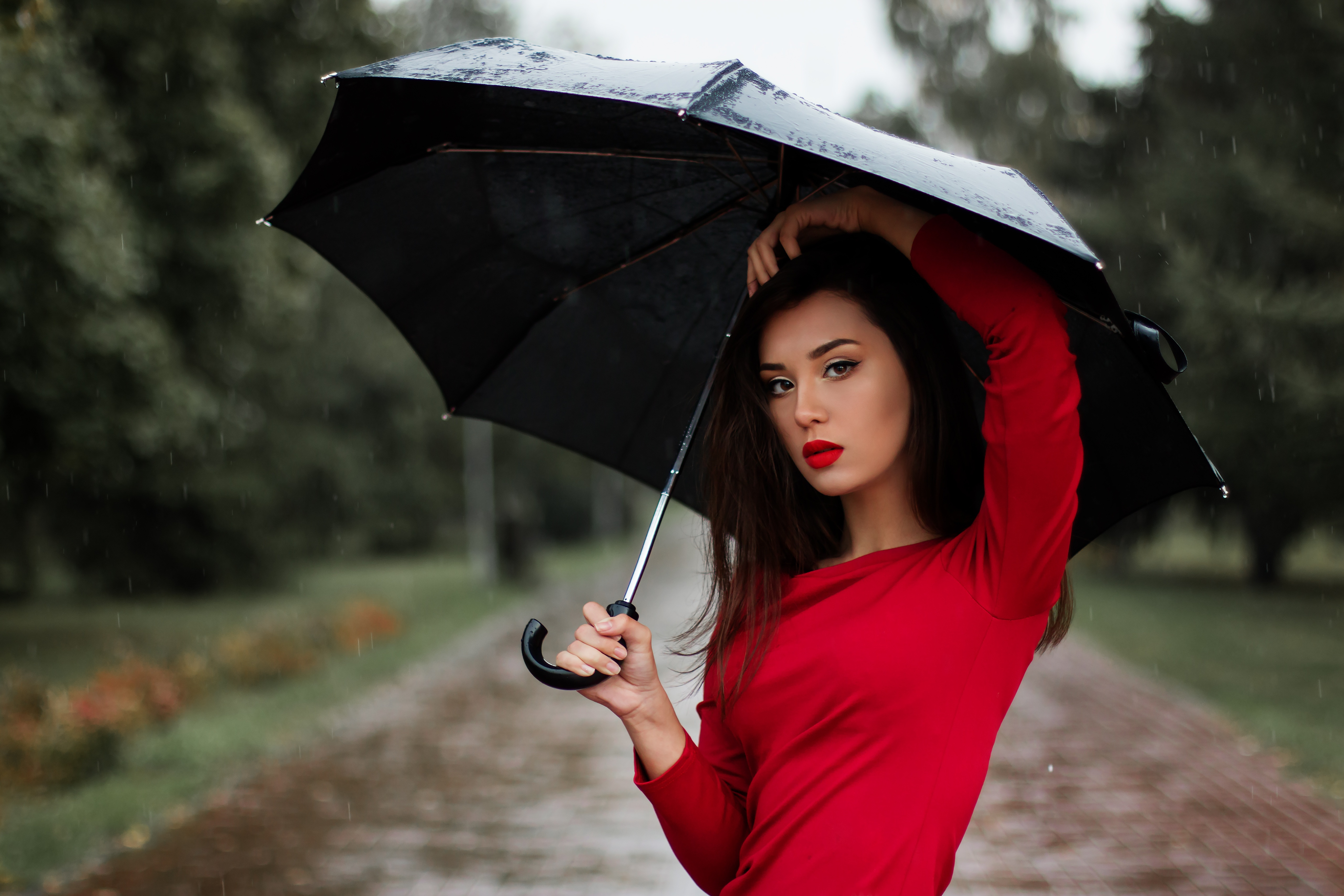 Portrait Of Young Woman With Umbrella Free Stock Photo