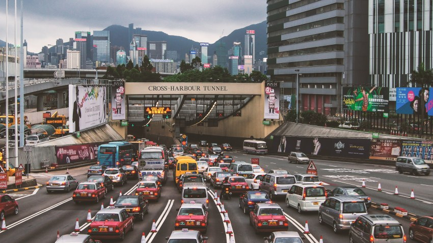 Traffic waits to go through the Cross-Harbour Tunnel in Hong Kong.