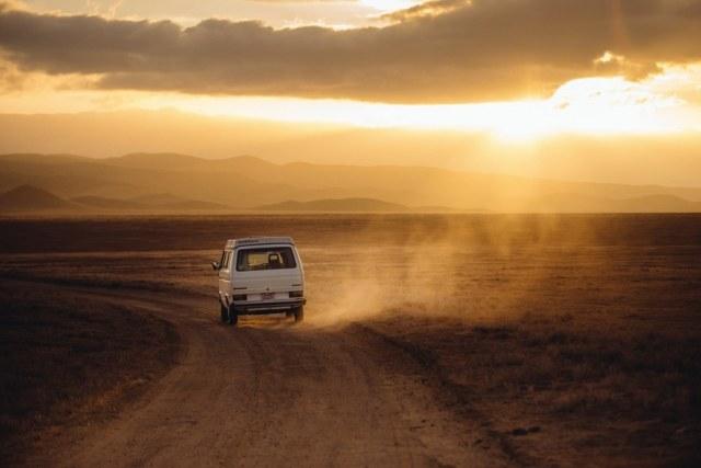 road, sunset, desert