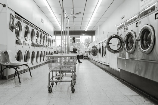 Free stock photo of black-and-white, clean, housework, launderette