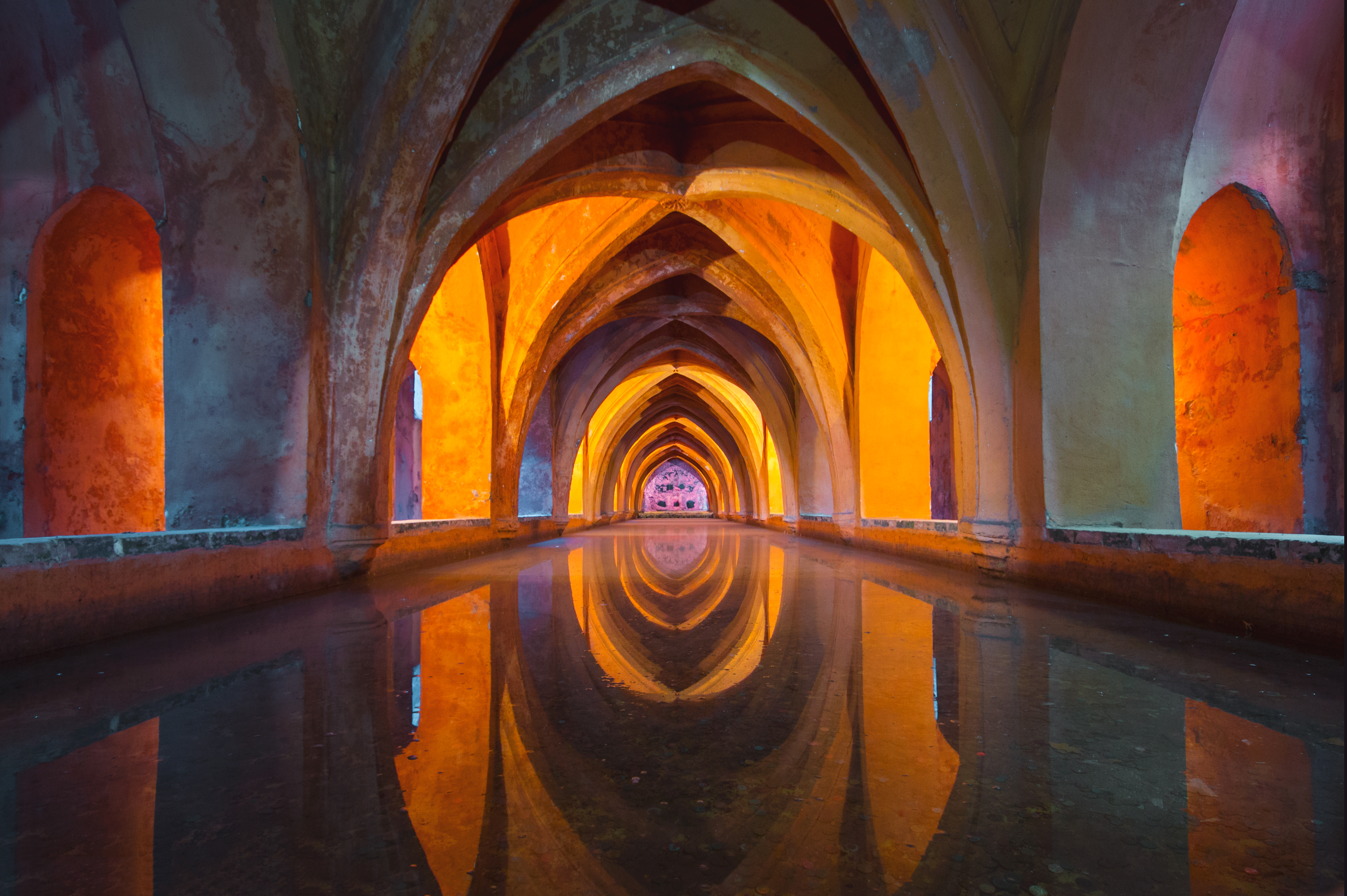 Orange and Gray Tunnel Painting  Free Stock Photo