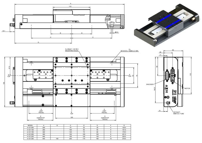 A-121 PIglide AT1 Linear Stage with Air Bearings