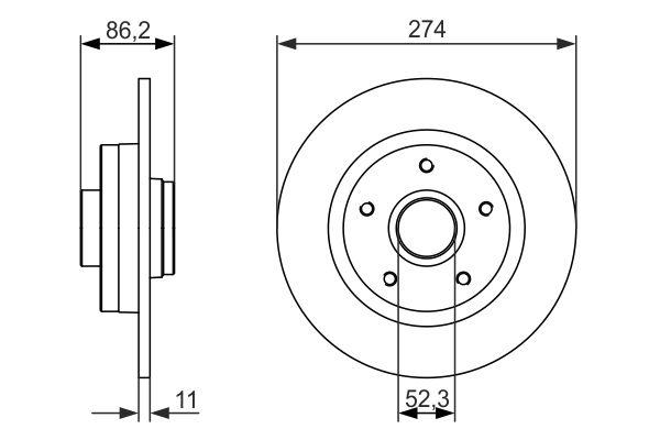 Jeu de 2 disques de frein arrière pour RENAULT GRAND