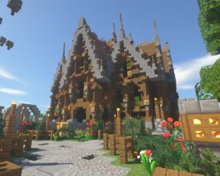 Medieval fantasy House/shop with gardens Minecraft Map
