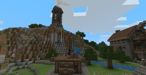 medieval seaside village guard town tower gallows minecraft