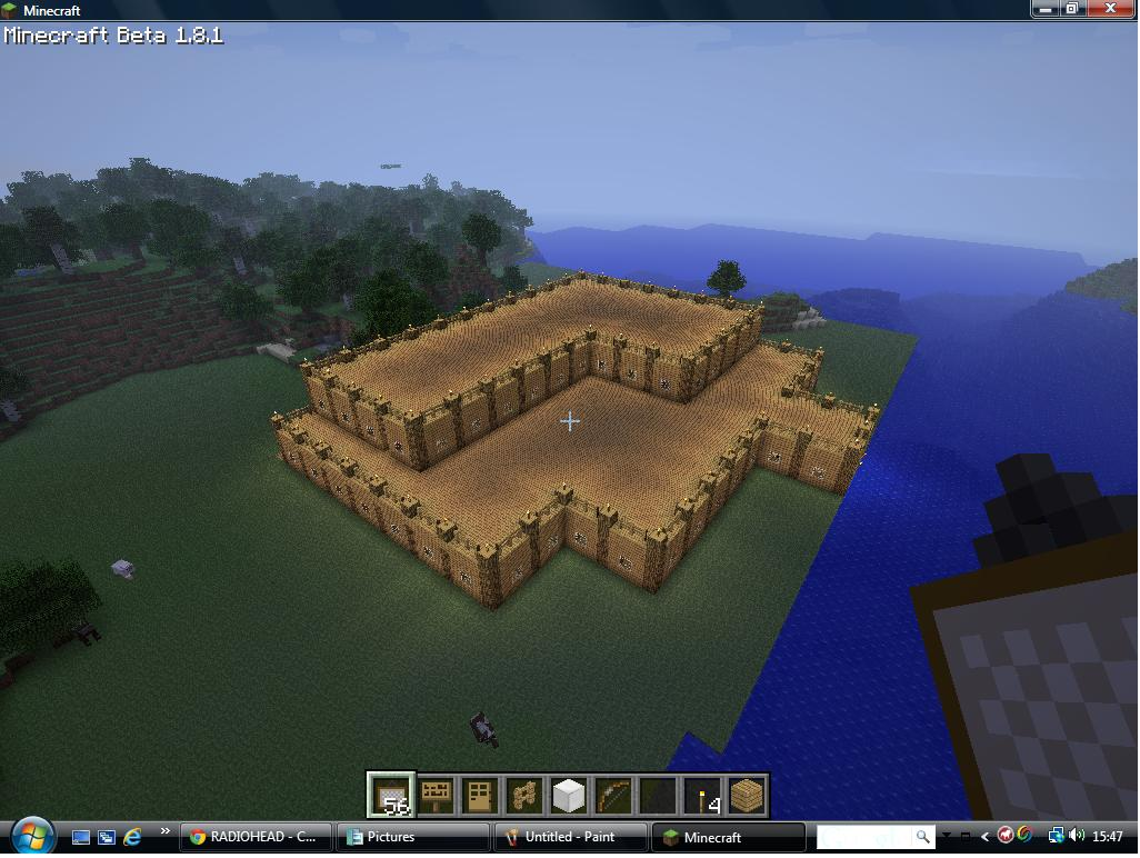 massive wooden house with swimming pool Minecraft Project