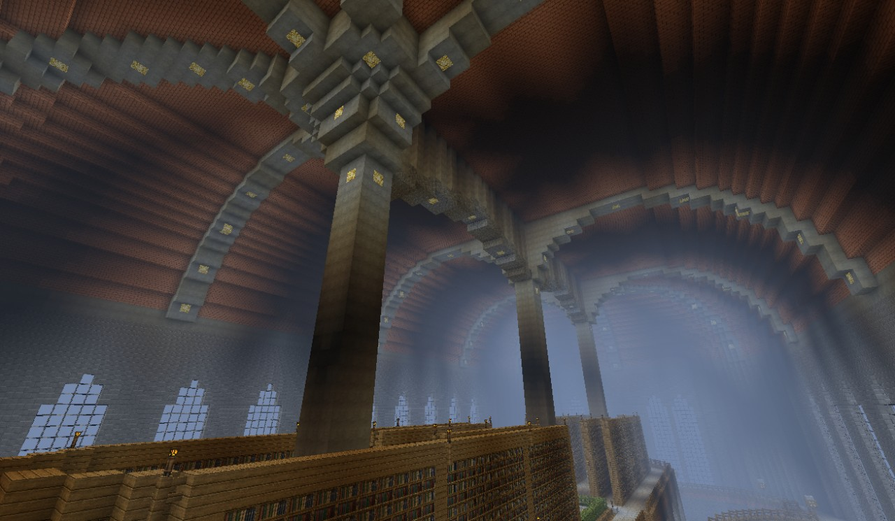 The huge medieval library Minecraft Project
