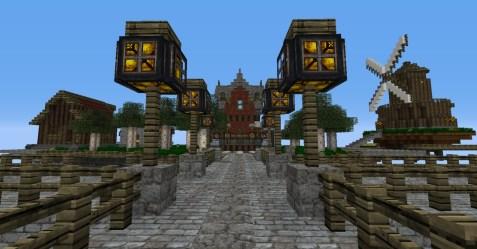 town steampunk skyport minecraft shot