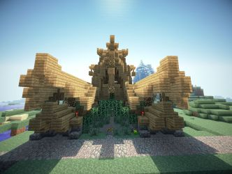 town hall medieval minecraft front project aerial