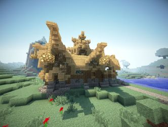 medieval town hall aerial front minecraft