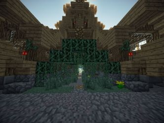 medieval hall town minecraft entrance