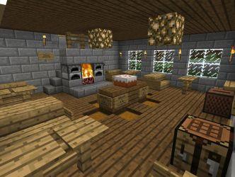 tavern medieval room dining minecraft