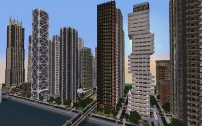 minecraft downtown crafton map buildings modern finished skyscraper project projects architecture
