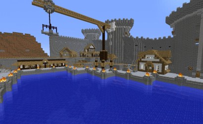 medieval harbor minecraft aerial