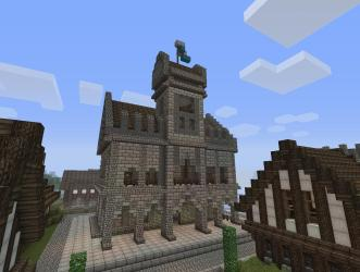 hall town minecraft medieval build houses building front